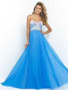 2015 Style A-line Sweetheart Sweep/Brush Train Chiffon Prom Dresses/Evening Dresses #QA560