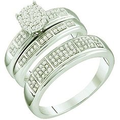 033 Carat ctw 10k White Gold Brilliant White Diamond Men  Womens Micro Pave Engagement Ring Trio Set -- You can get more details by clicking on the image.(This is an Amazon affiliate link)