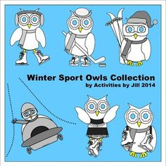 These adorable owls are enjoying winter sports and will make a great addition to your clipart collection and products!  Six owls are included and depict ice skating, ice dancing, ice hockey, bobsledding, and skiing. They are in PNG format with transparent backgrounds so they are easy to resize and add to documents.