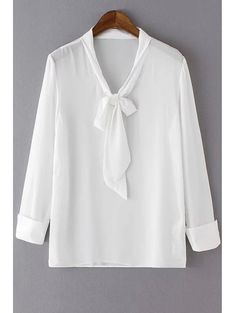 Solid Color Bow Tie Collar Long Sleeve Blouse WHITE: Blouses   ZAFUL