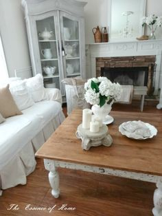 Easy Shabby Chic Coffee Table Makeover~Partially Painted and Heavily Distressed with Sandpaper