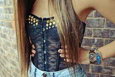 Studded Black Lace Bustier