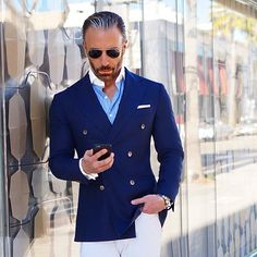 blazer and white chino  -  mens fashion style