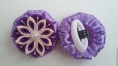 Купить Резинка для волос в стиле канзаши - комбинированный, резинка для волос, резинка с цветком, резинка для девочки