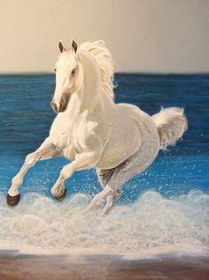 Denizde Koşan Beyaz At Tablosu - hyn2664