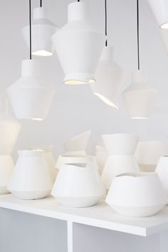 young designer of the year prize 2013 mari isopahkala and iina vuorivirta Porcelain Ceramics, Ceramic Pottery, Ceramic Art, Ceramic Lamps, Light In, Lamp Light, White Light, Lite Brite, Pottery Videos
