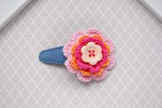 Crochet Flower Snap Clip, Crochet Hair Accessory, Flower Hair Clip, Kid Girl Crochet Hair Barrette, Colorful Flower Hairclip with Button by SpunkyBunny