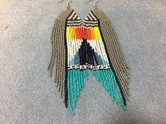 Long Color Block White Black Grey Blue Seed Bead Boho Native Seed Bead Jewelry, Seed Bead Earrings, Fringe Earrings, Crystal Jewelry, Beaded Earrings, Seed Beads, Beaded Jewelry, Unique Jewelry, Native Beadwork
