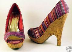 Womens-BAMBOO-Platform-High-Heels-Sz-US-6-Cloth-Striped-Red-Shoes-Cork-Wedge