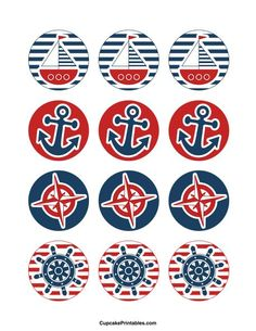 Use the circles for cupcakes, party favor tags, and mo. Use the circles for cupcakes, party favor tags, and more. Fiesta Baby Shower, Baby Shower Favors, Baby Shower Parties, Baby Boy Shower, Shower Party, Baby Shower Cupcakes Neutral, Sailor Party, Sailor Theme, Nautical Cupcake