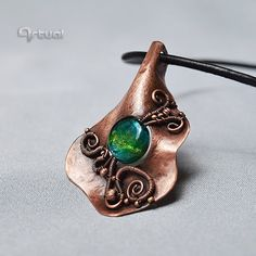 Copper wire jewelry pendant green dichroic glass bead by Artual