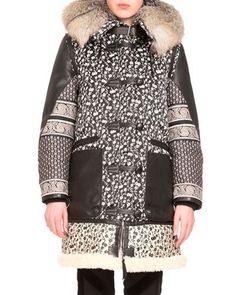 B3ATD Altuzarra Smyrna Mixed-Print Coat W/Fur Collar, Black/Natural White