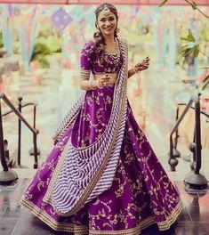 Purple / violet colour embroidery work lehenga choli with stripes stylish dupatta Ghagra choli chaniyacholi indian bride dress Indian Lehenga, Sabyasachi Lehenga Bridal, Lehenga Choli Wedding, Bridal Lehenga Choli, Red Lehenga, Lehenga Dupatta, Bollywood Lehenga, Anarkali, Purple Lehnga