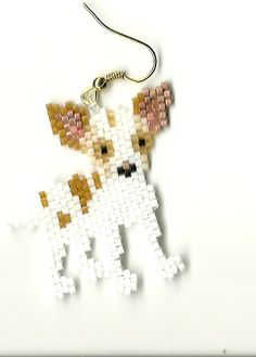 Hand beaded sweet little Brown and White Chihuahua dog dangle earrings