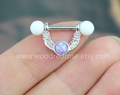 5 colors for choice Opal Nipple Piercing Jewelry by woodredrose
