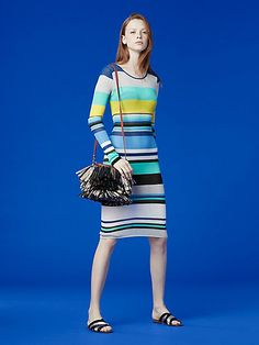 long sleeve crew neck stripe knit dress from DVF