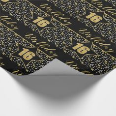 Birthday Star on Black with Silver Gold Wrapping Paper Birthday Text, Birthday Star, 16th Birthday, Gold Wrapping Paper, Custom Wrapping Paper, Gift Wrapping, Birthday Accessories, Sixteenth Birthday, Silver Glitter