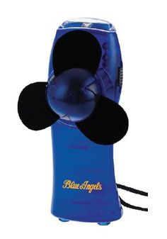 """BLUE ANGELS - MINI TURBO FAN / FLASHLIGHT   A great accessory for outdoor events this mini fan/flashlight has a white standard bulb ligh and foam bladest. It comes with a break-away lanyard and rubber base pads. Size is 4.312"""" x 1.562"""" x 1.875"""".   *Not intended for children under 3 *Keep away from hair"""