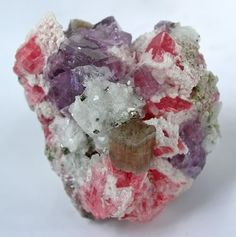 Rhodochrosite, Quartz, Fluorite and Pyrite. Colorado.