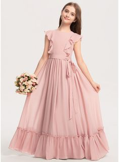 JJsHouse A-Line Scoop Neck Floor-Length Bow(s) Cascading Ruffles Zipper Up Sleeves Short Sleeves No Other Colors General Plus Chiffon Junior Bridesmaid Dress. Girls Dresses Sewing, Stylish Dresses For Girls, Stylish Dress Designs, Gowns For Girls, Frocks For Girls, Dresses Kids Girl, Baby Frocks Designs, Kids Frocks Design, Girls Frock Design