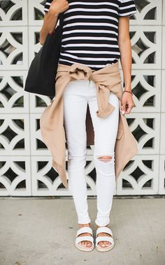 3 SANDALS // 3 LOOKS - black and white is always chic, black and white stripe t-shirt, white ripped skinny jeans