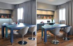 Embutida em um nicho de 90 cm de profundidade, a mesa do escritório fica escondida atrás de portas do tipo camarão. Com rodízios de aço, a bancada de trabalho é uma das peças que compõem a mesa Joly. Ao juntar as 2 partes, forma-se uma mesa de jantar
