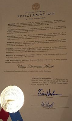 """TENNESSEE """"Proclamation for September '14 as Chiari Malformation Awareness Month"""" Special thanks to Governor, Bill Haslem"""