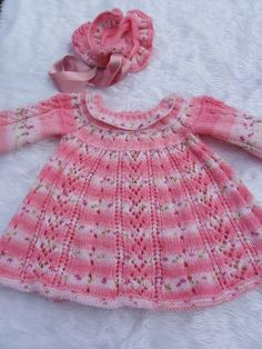 Hand knitted baby dress and bonnet 0-3 months - Folksy
