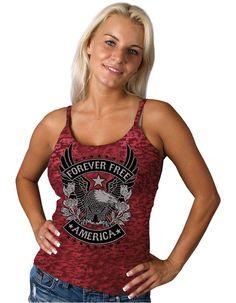 Hot Leathers Banner Skull Womens Full Cut Beater Tank Top Black, Medium