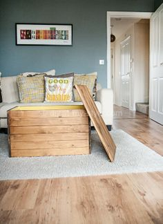 Love this wall color!! Also, DIY Coffee Table from Malm bed slats