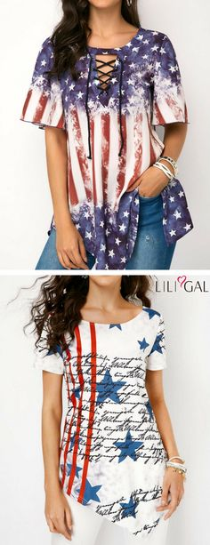 of july tops, of july outfits, of july shirts, a Cool Outfits, Fashion Outfits, Womens Fashion, Fashion Art, 4th Of July Outfits, American Flag, American Symbols, Casual Wear, Plus Size Fashion