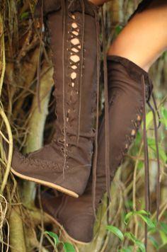 Dark Brown Nubuck Leather Knee High Boots