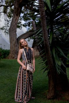 GOLDEN PASHLI — Silver Girl style tribal print maxi dress, golden pashli and leather mules from Philip Lim outfit.