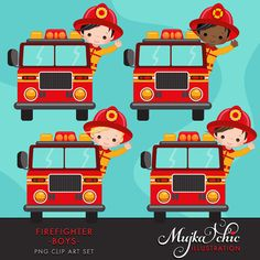Fire fighter boys clipart Firefighter clipart for boys. This cute set includes 8 boy firemen characters, 4 in the fire truck and 4 putting the fire down with fire hose. Cute elements such as fire hydrant, fire extinguisher, traffic cones, fire chef emblem and fire graphics come with it. Perfect for invitations, party printables and embroidery. Contains 17 high quality Cliparts Format: 300 DPI transparent PNG files. Size: Most cliparts are saved around 6,7 inches tall LICENSE: Personal Use…