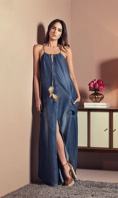 21 Fashionable Jeans Stylish And Casual Dresses For Women - Magdalena Dresses - Diy Crafts Denim Attire, Denim Outfits, Skirt Outfits, Denim Dresses, Dresses Dresses, Linen Dresses, Denim Fashion, Boho Fashion, Fashion Dresses