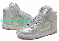 Nike Dunk Sb High Metallic Sparkle Silver Gray White Nike Dunk S     #Nice #White #Shoes