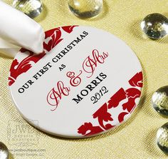 Our First Christmas Ornament Mr and Mrs Wedding Ornament Personalized Wedding Gift - Valencia Pattern - You Choose Color. $19.00, via Etsy.
