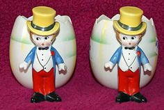 """Goebel / Hummel Rare Early Character Egg Cups Goebel Deco 1930 - Just this side of """"Cabaret..."""""""