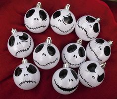 Set of 9 Jack Skellington ornaments baubles white iridescent or winter white Nightmare Before Christmas tree decoration gift