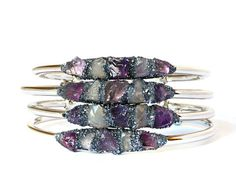This listing is for one natural amethyst and rose quartz bracelet set in crushed pyrite. Upon checkout please select gold, silver, or rose gold plated and size. Great for stacking and adjustable! All items are shipped in Lea Spirit™ signature packaging including crystal and gemstone