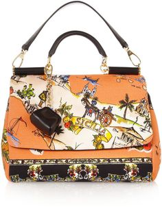 Dolce  amp  Gabbana Printed Canvas and Leather Shoulder Bag in Multicolor  (multicolored) -. Lyst bc544deba032c