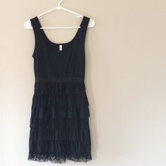 👗 REDUCED Adorable lace black knee length dress This is an awesome party dress with tiered lace skirt Xhilaration Dresses Midi