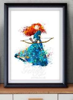 Disney Princess Merida, Brave Watercolor Poster Print