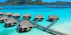Luxury over-water bungalows on the island of Bora Bora in French Polynesia.