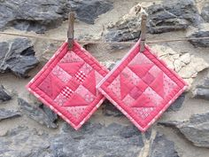 Set of Two Square Pot Holders / Hot Pads in Pink by zoedawn