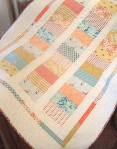 Patchwork scrappy quilt :: would be such a pretty baby quilt.