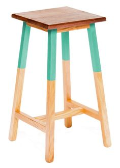 teal color dipped stool