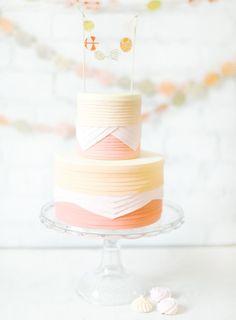 Peach Pink layered wedding cake  Photo by Jen Huang (jenhuangblog.com)