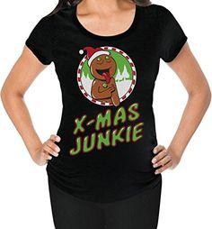 TeeStars - Xmas Junkie - Funny Christmas Shopping Frenzy Holiday Maternity Shirt…