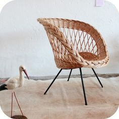 Fauteuil osier '50 Decoration, Wicker Baskets, Rattan, New Homes, Vintage, French Riviera, Inspiration, Furniture, Paris